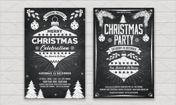 Christmas & New Year Chalk Flyers Set