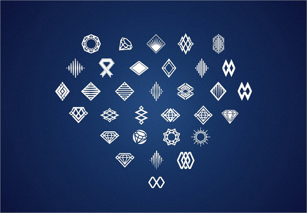 Abstract Diamond Jewels Logo Template