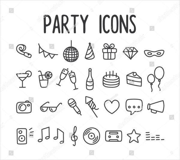 Set of Hand Drawn Party Themed Line Icons