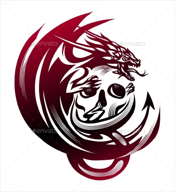 Dragon Sitting On a Skull Tattoo