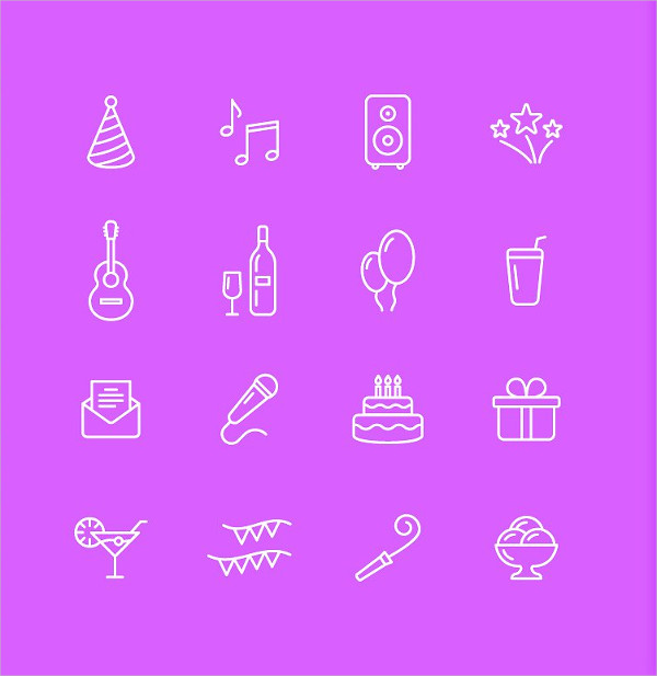 Celebration and Party Icon Set