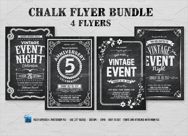 4 Print Ready Chalk Flyers Bundle