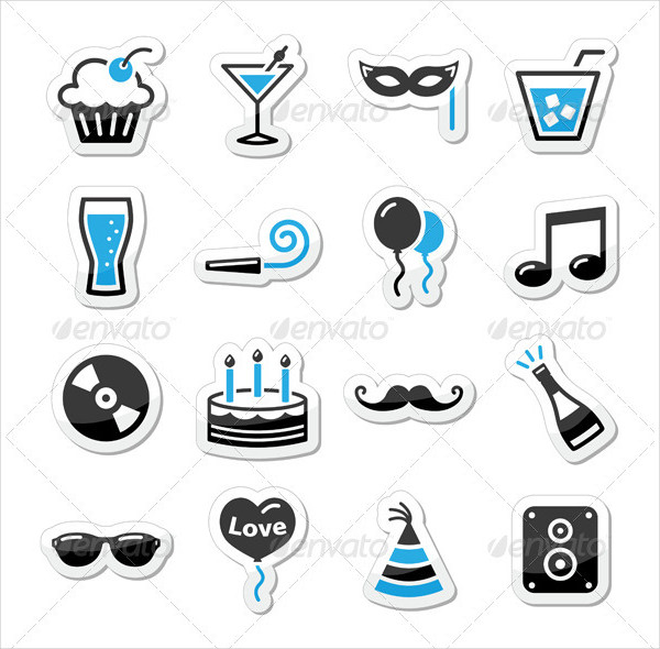 Holidays and Party Icon Set as Labels