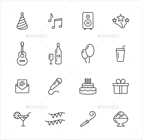 Fully Editable Party Thin Line Icons