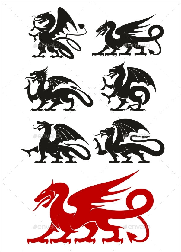 Medieval Black Heraldic Dragons Tattoo Designs