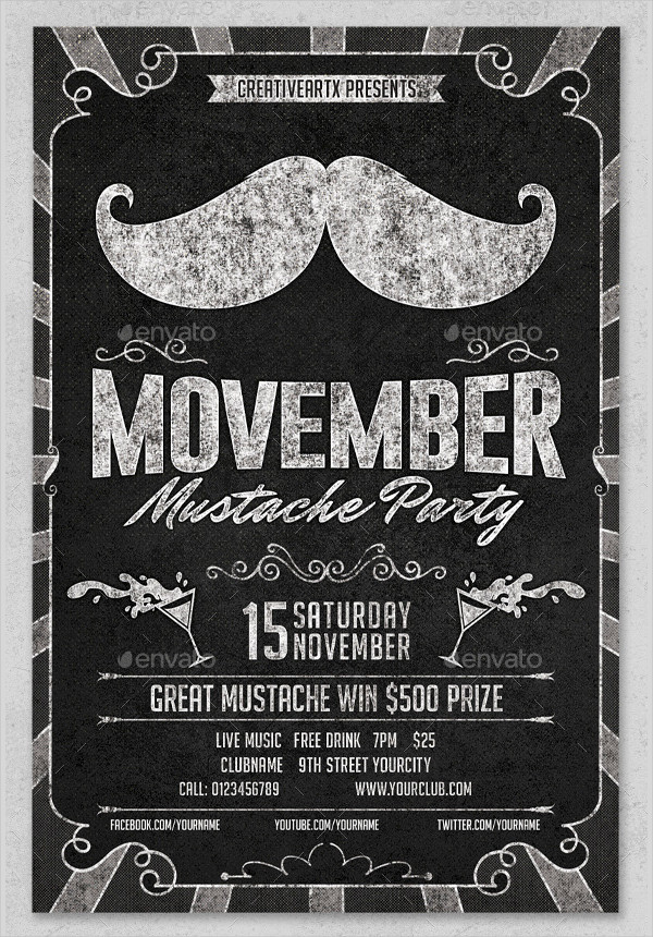 Movember Mustache Party Chalkboard Flyer Template