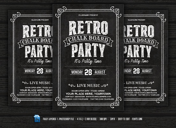 Retro Chalkboard Flyer Template