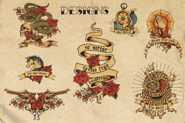 Vector Hand Drawn Tattoo Designs