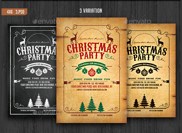 Vintage and Chalkboard Christmas Party Flyer Template