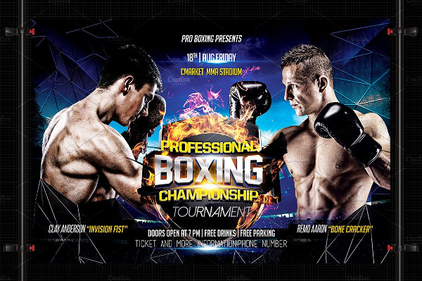 Professional Boxing Event Flyer Template