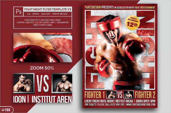 Unique Fight Night PSD Flyer Template