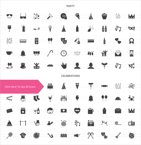 100 Party Glyph Icons