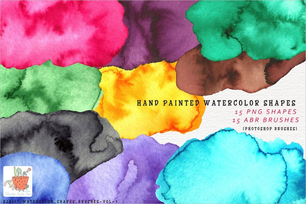 15 Watercolor Shapes Brushes