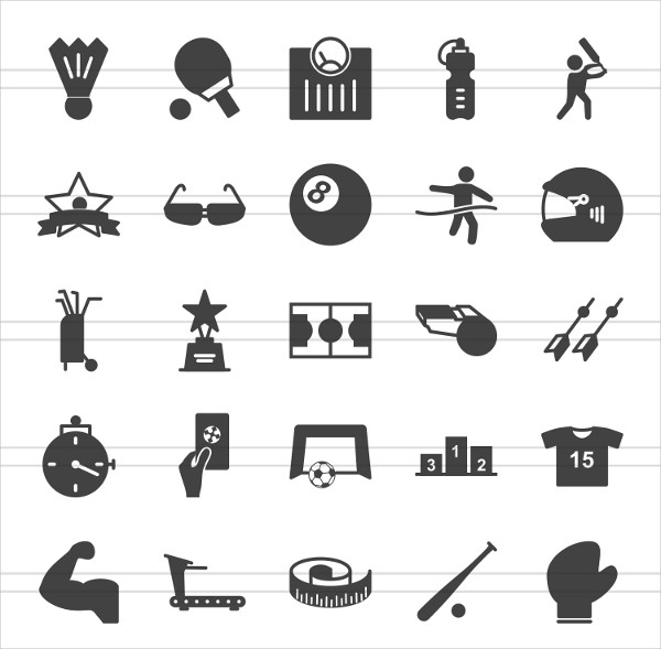 150 Fitness & Sports Glyph Icons