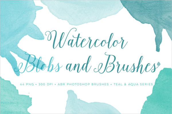 44 Watercolor Blobs Photoshop Brushes