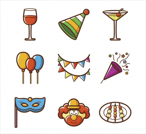 Anniversary Party Icon Collection Free Vector