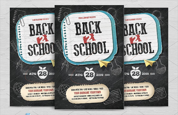 Back 2 School Flyer Template in Chalkboard Style