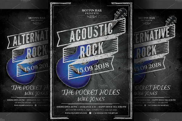 Chalkboard Rock Night Flyer Template