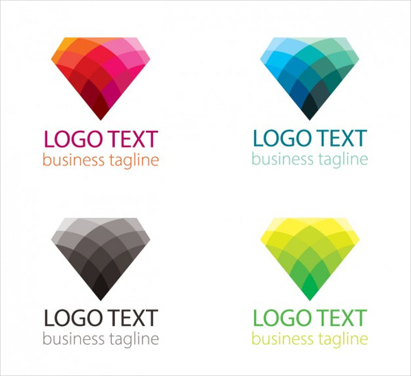 Colorful Set of Logo with Diamond Shape Free