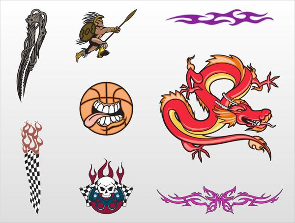 Cool Dragon Tattoo Designs Free Vector