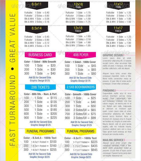 Digital Printing Price Listing Flyer Template