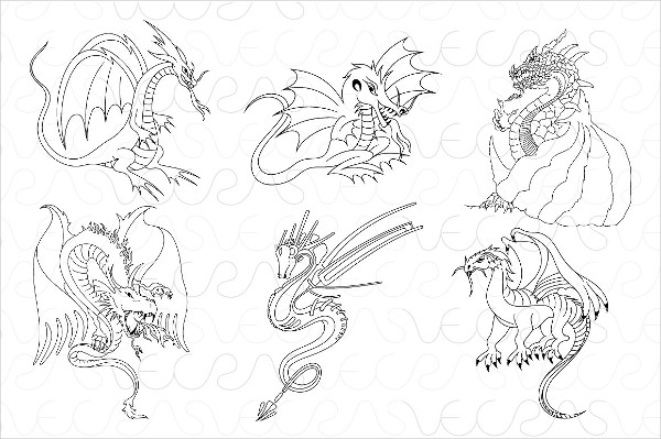Fictional Dragons Linear Vector Set