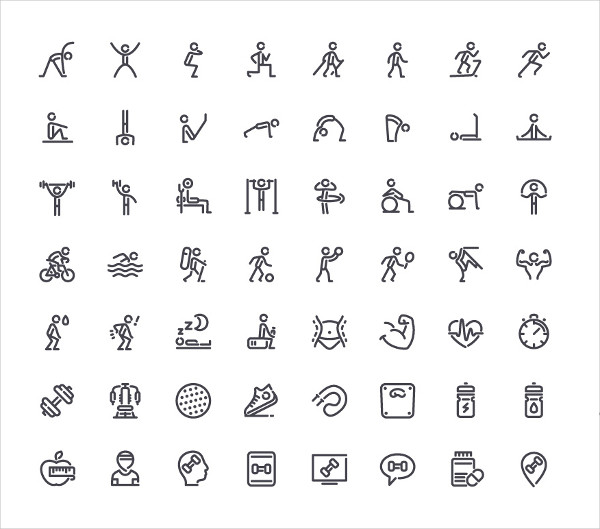 56 Fitness Line Icons Set