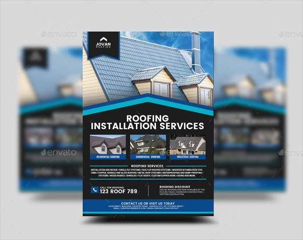 Fully Editable Roofing Services Flyer Template