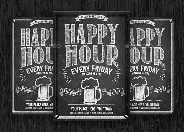 Happy Hour Chalkboard Flyer Template
