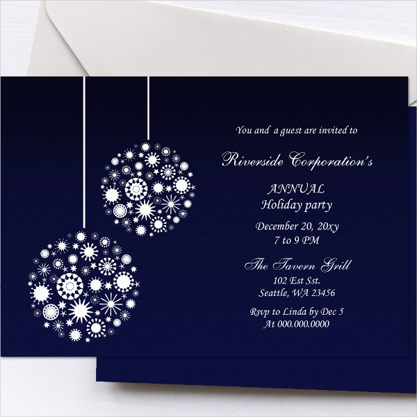 Navy Ornaments Holiday Party Invitation Template