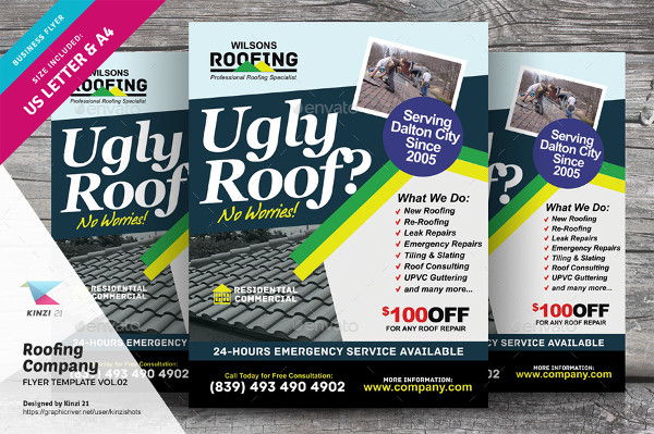 Perfect Roofing Company Flyer Template
