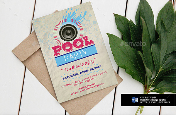 Pool Party Invitation or Flyer Template
