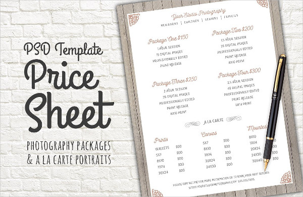 Editable Price Sheet Template PSD