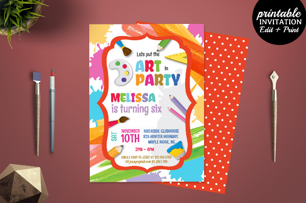 Printable Art Party Invitation Template