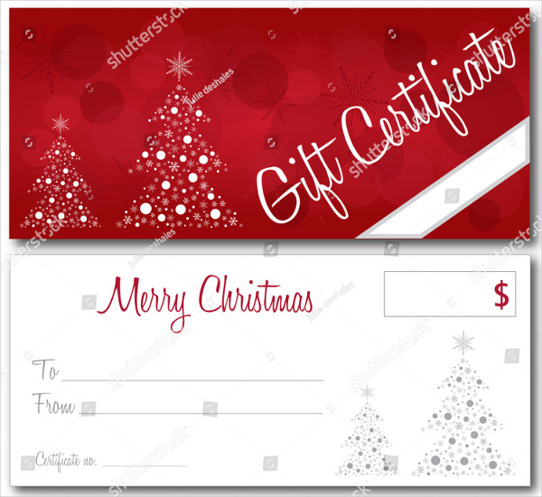 Red Gift Certificate Christmas Design Vector