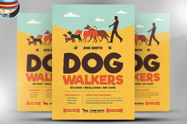 Retro Style Dog Walker Flyer Template