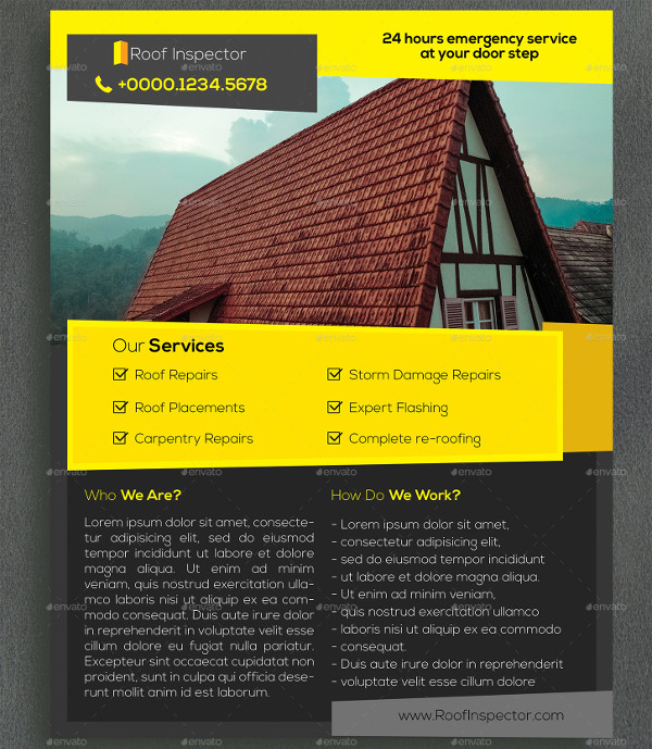 Roof Inspection Service Flyer Template