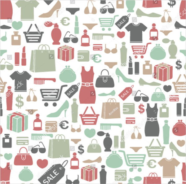 Seamless Background with Shopping Icons