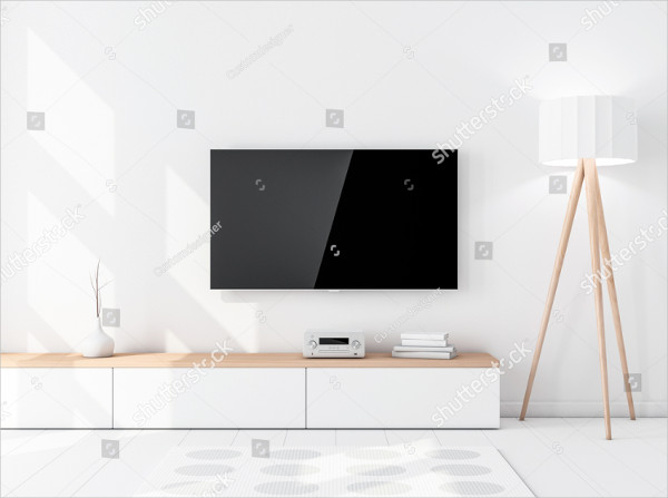 Smart Television Mockup with Black Screen