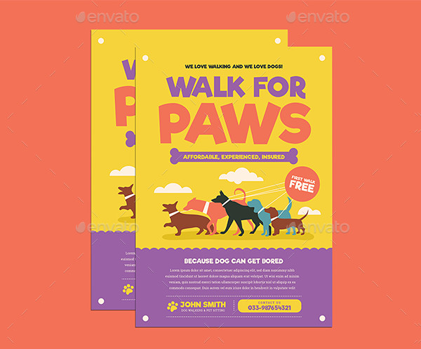Stylish Dog Walkers Flyer Template