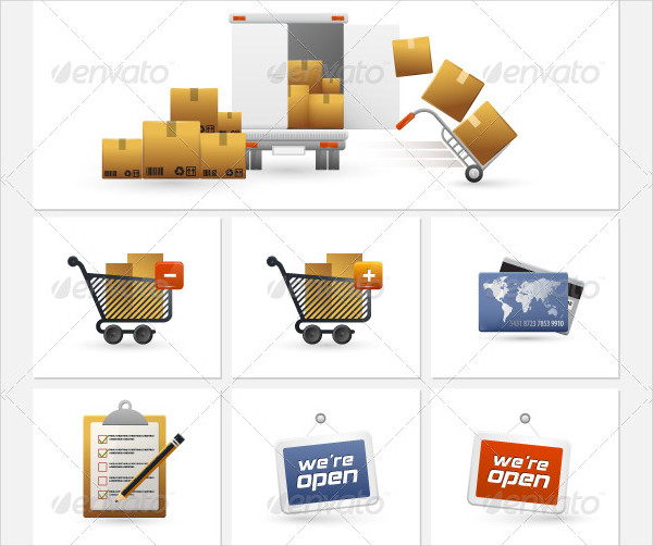 Stylish Shopping and Trading Icons