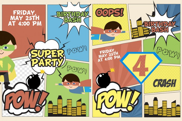 Superhero Party Invitation Card Template