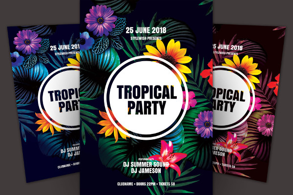 PSD Tropical Party Flyer Template