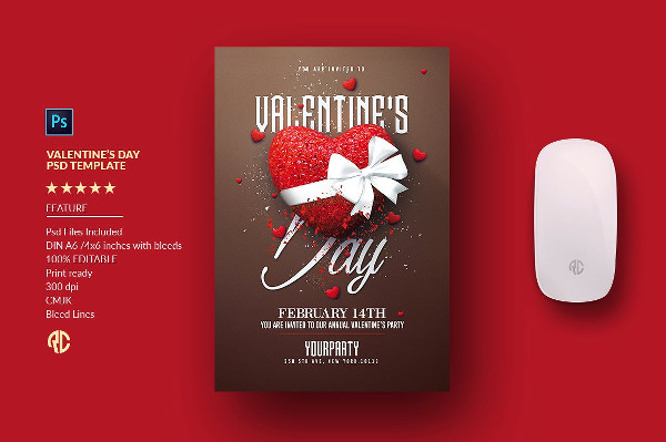 Valentine's Day Invitation PSD Flyer Template