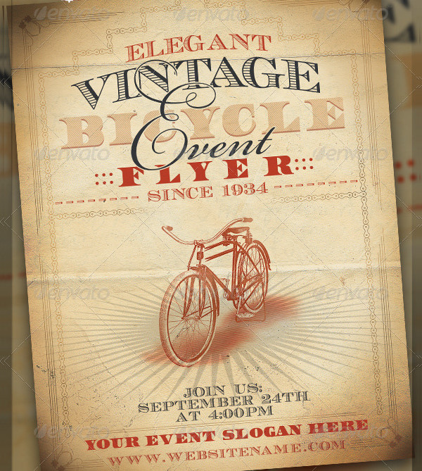 Vintage Bicycle Event Flyer Template