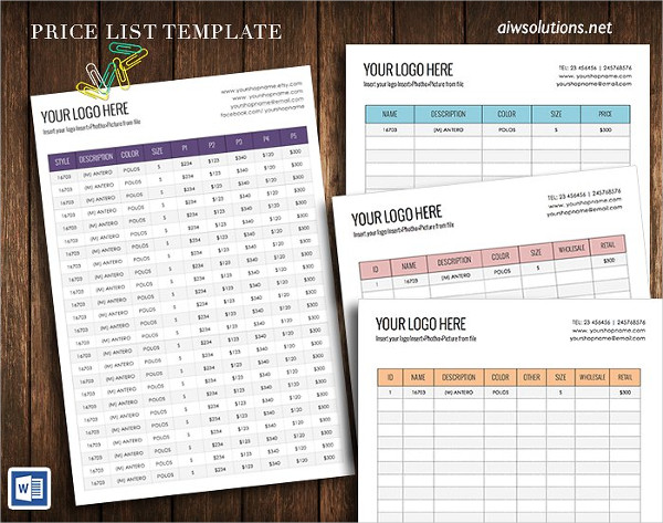 Clean Wholesale Price Sheet Template