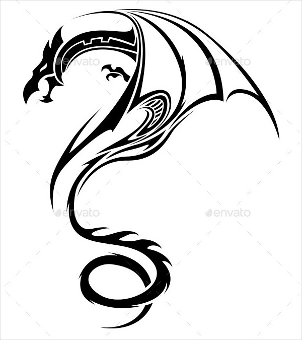 Wonderful Tribal Dragon Tattoo Design
