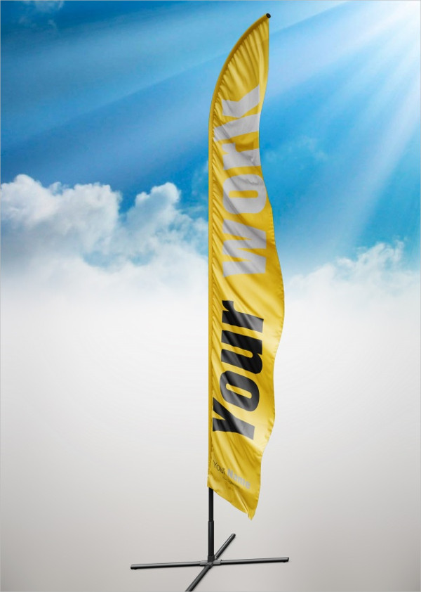 Yellow Flag Mock Up Free PSD
