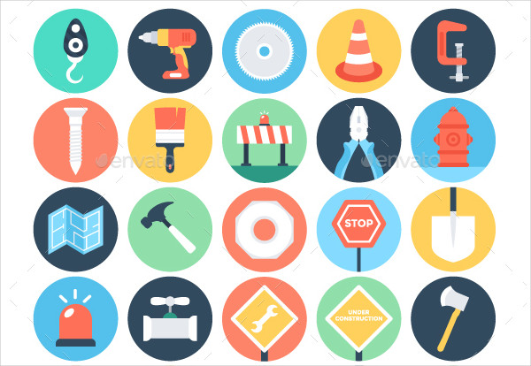 125+ Flat Construction Business Icons