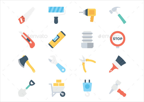 130 Construction Colored Icons